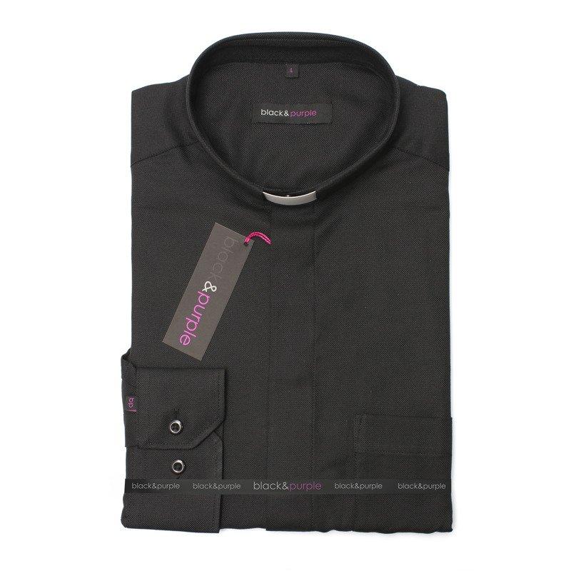 Koszula Kapłańska Royal Oxford czarna Krótki stójka pod  4LEW7