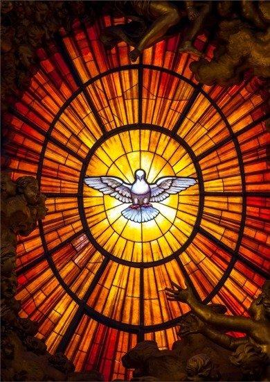 Kartka Braterska - Witraż Ducha Świętego z Bazyliki św. Piotra